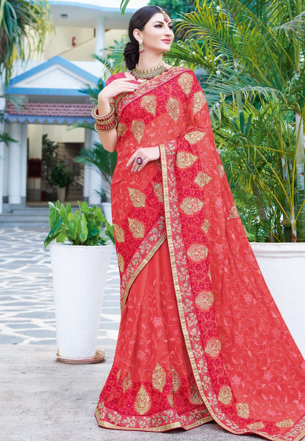 Pink Georgette Saree With Blouse 165858