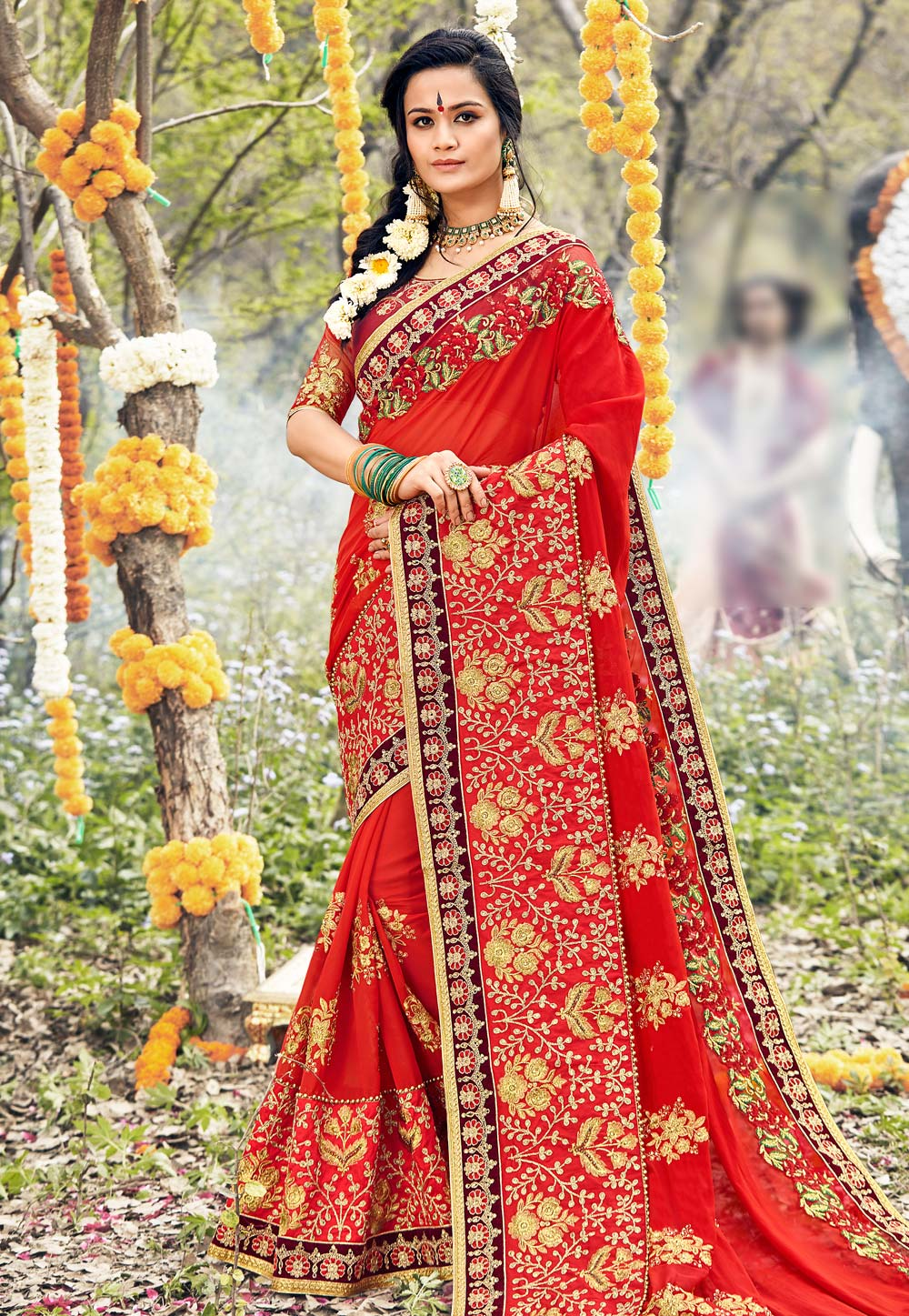 Red Georgette Embroidered Festival Wear Saree 166953