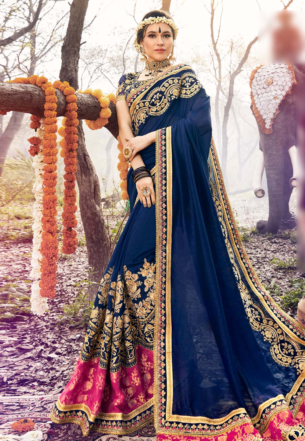 Navy Blue Georgette Embroidered Saree With Blouse 166954