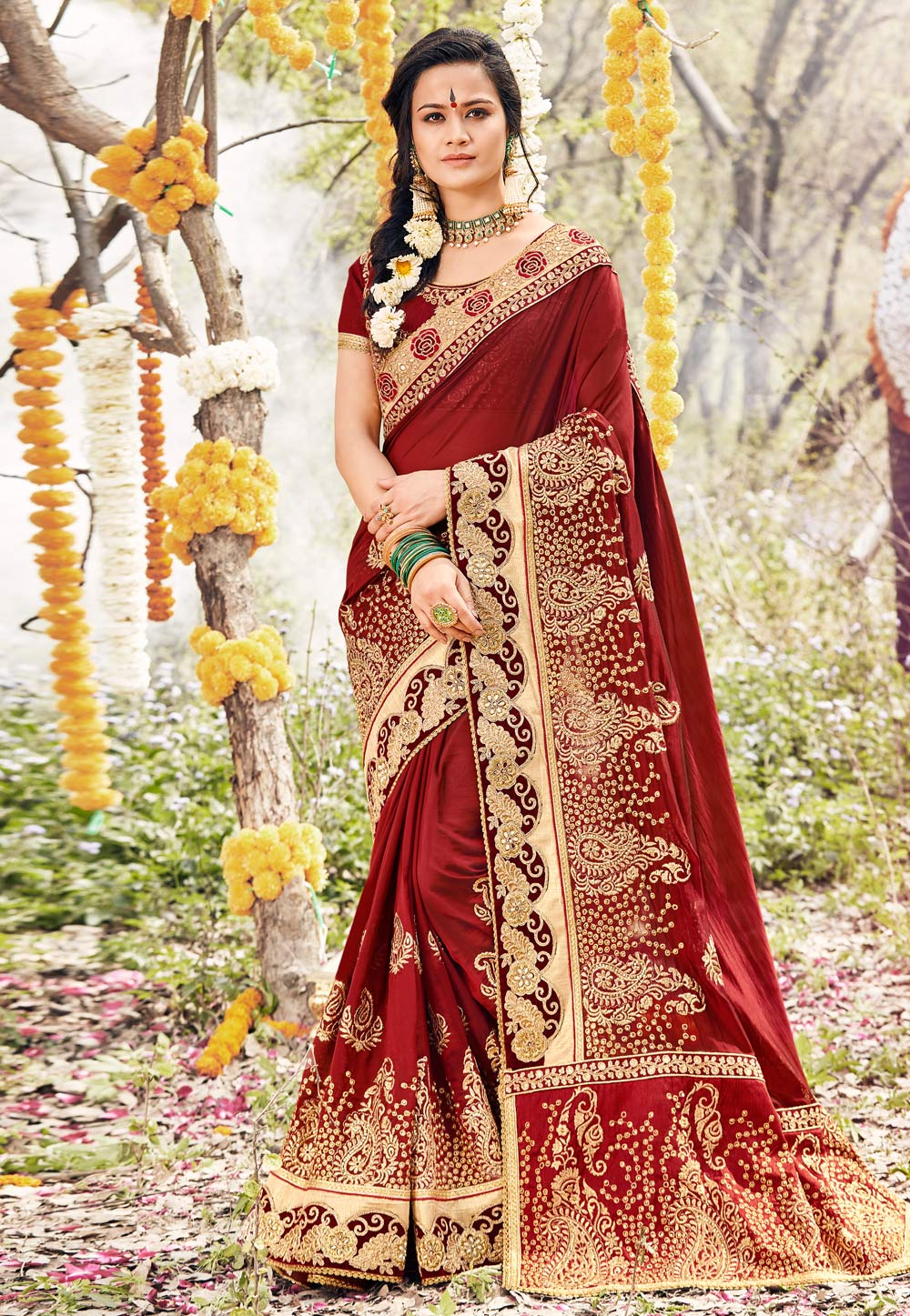 Maroon Georgette Embroidered Saree With Blouse 166956