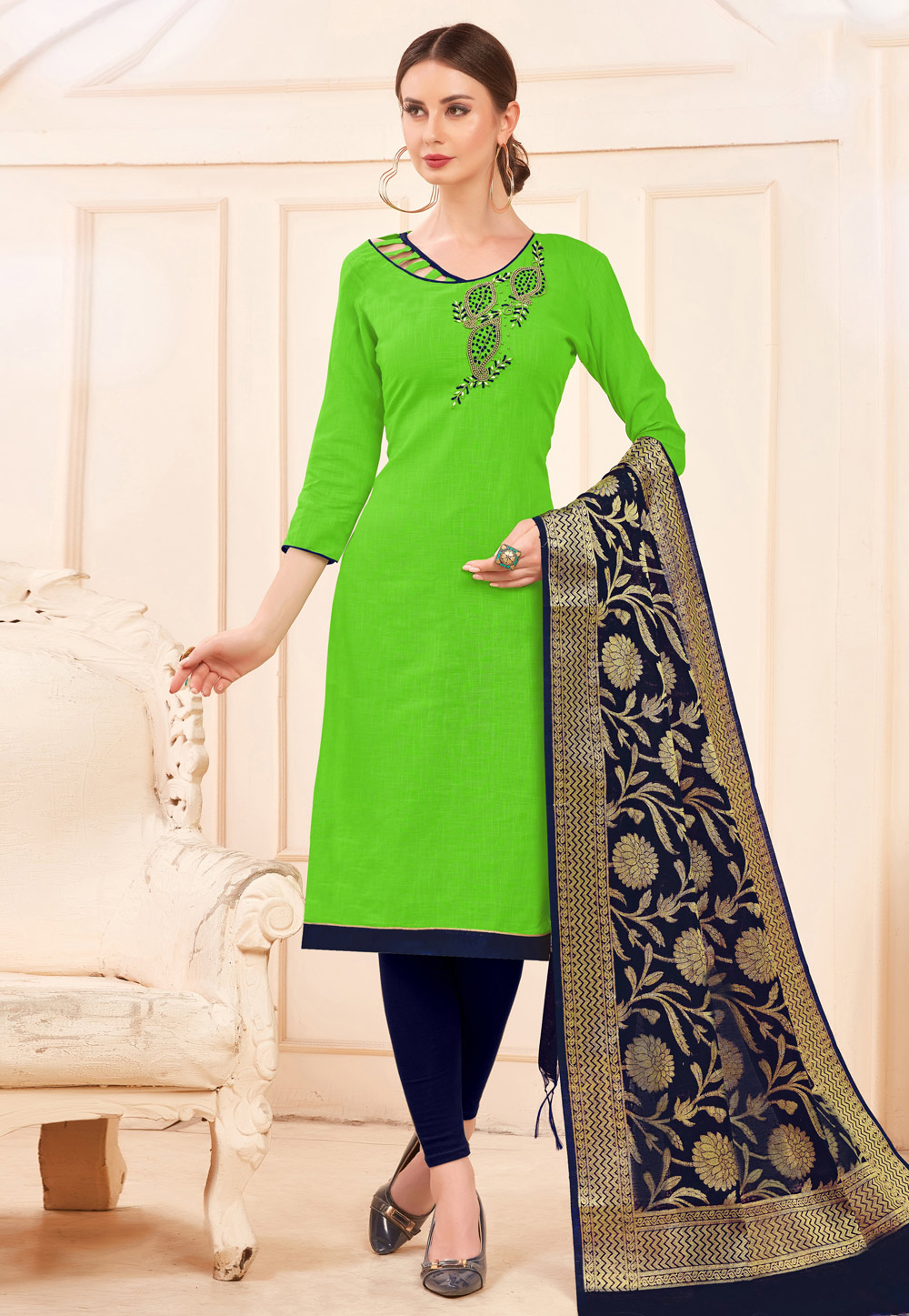 Green Cotton Churidar Suit 169496