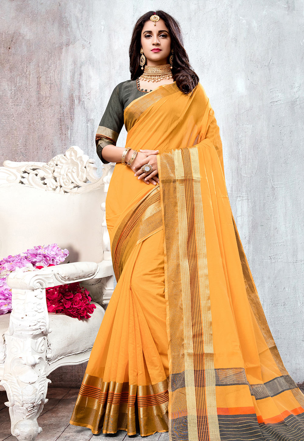 Yellow Cotton Saree With Blouse 176308