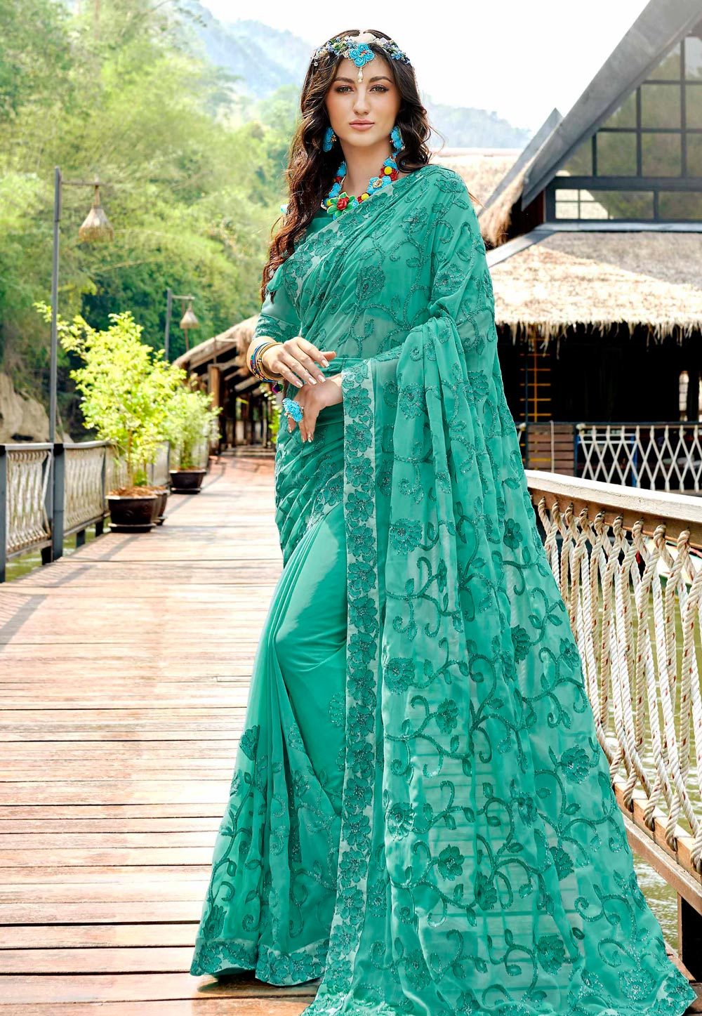 Sea Green Georgette Saree With Blouse 181749