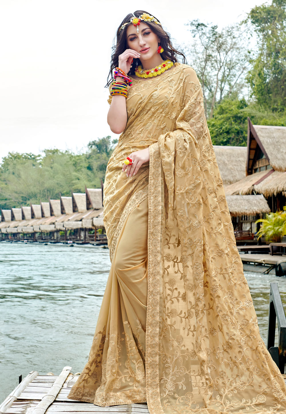 Beige Georgette Festival Wear Saree 181750