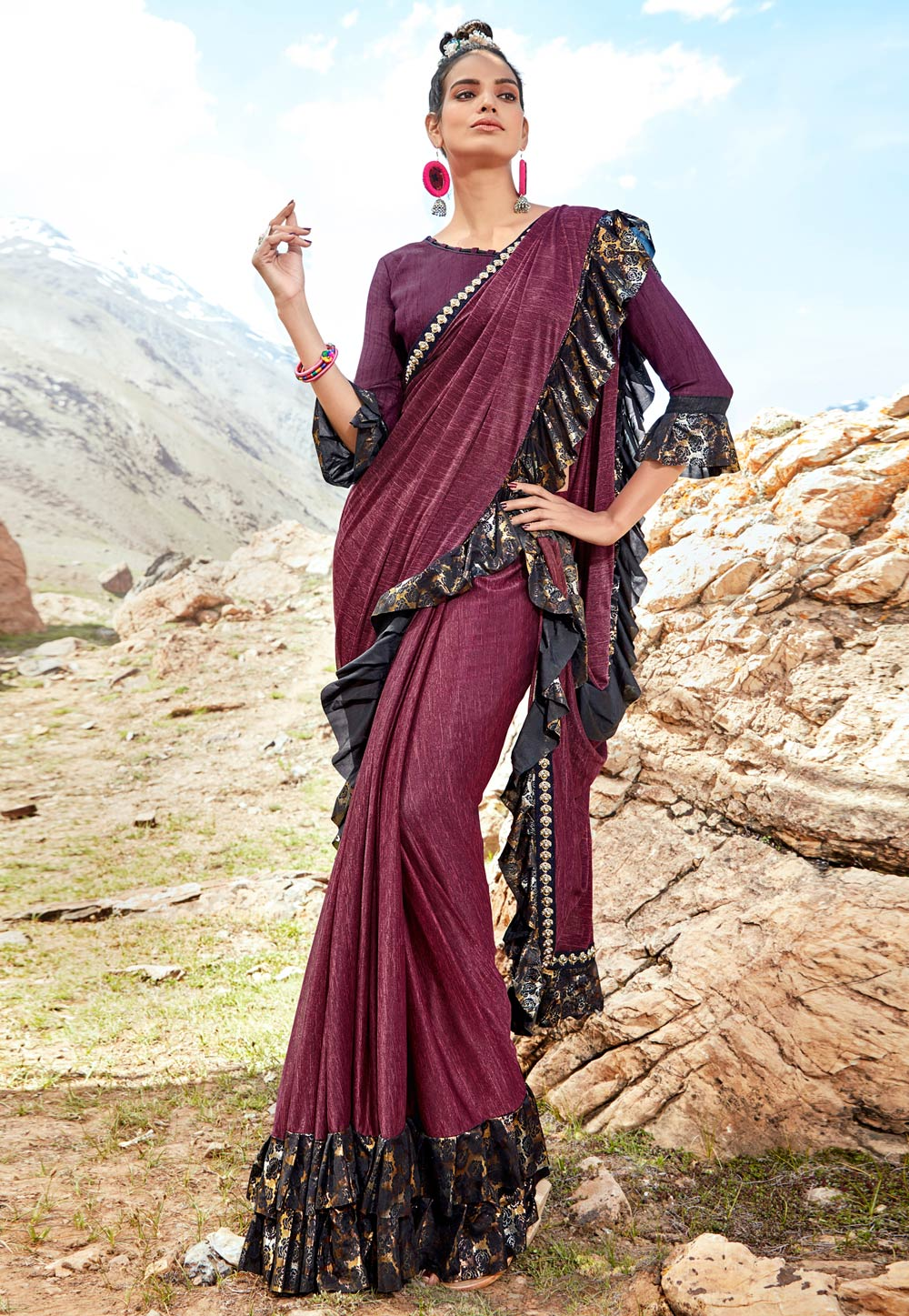 Purple Lycra Ruffle Border Saree With Blouse 181985