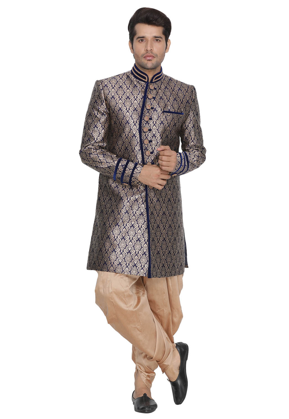 Blue Cotton Readymade Indo Western Suit With Dhoti 182325