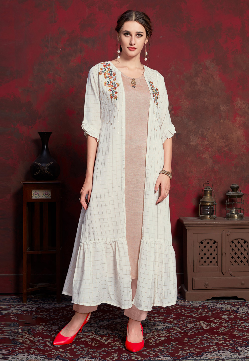 Off White Rayon Readymade Tunic With Jacket 183515