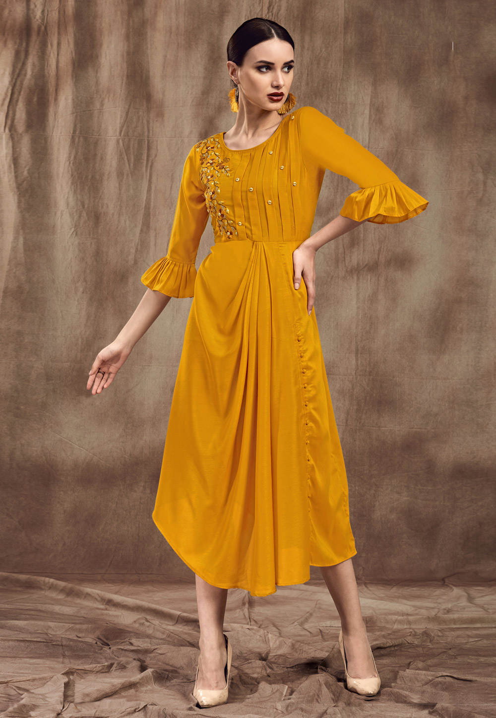 Yellow Muslin Readymade Tunic 190461