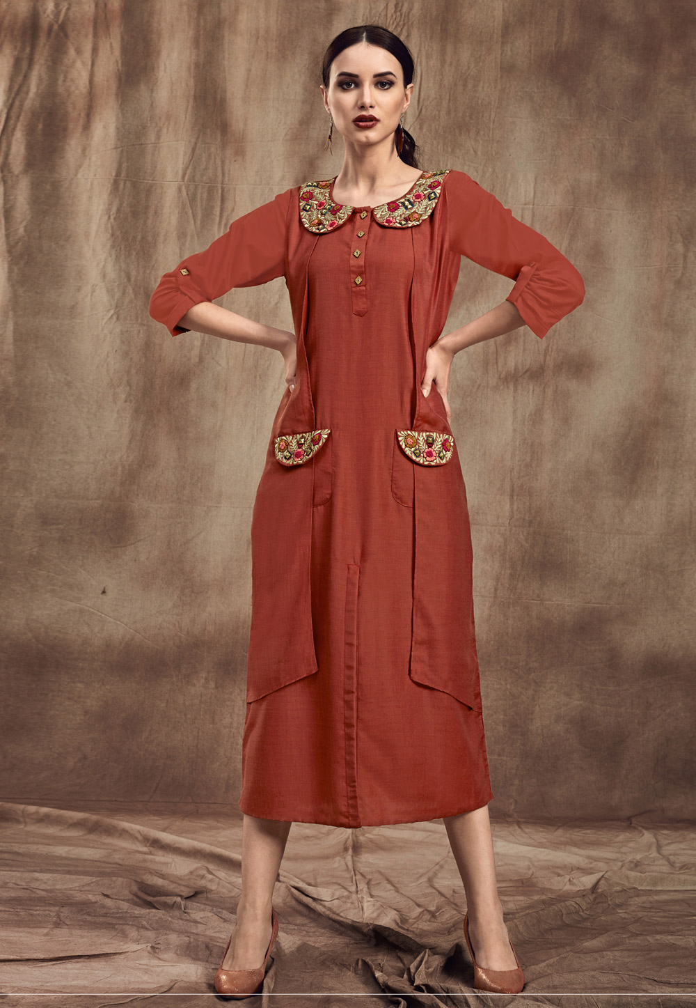 Orange Muslin Readymade Tunic 190463