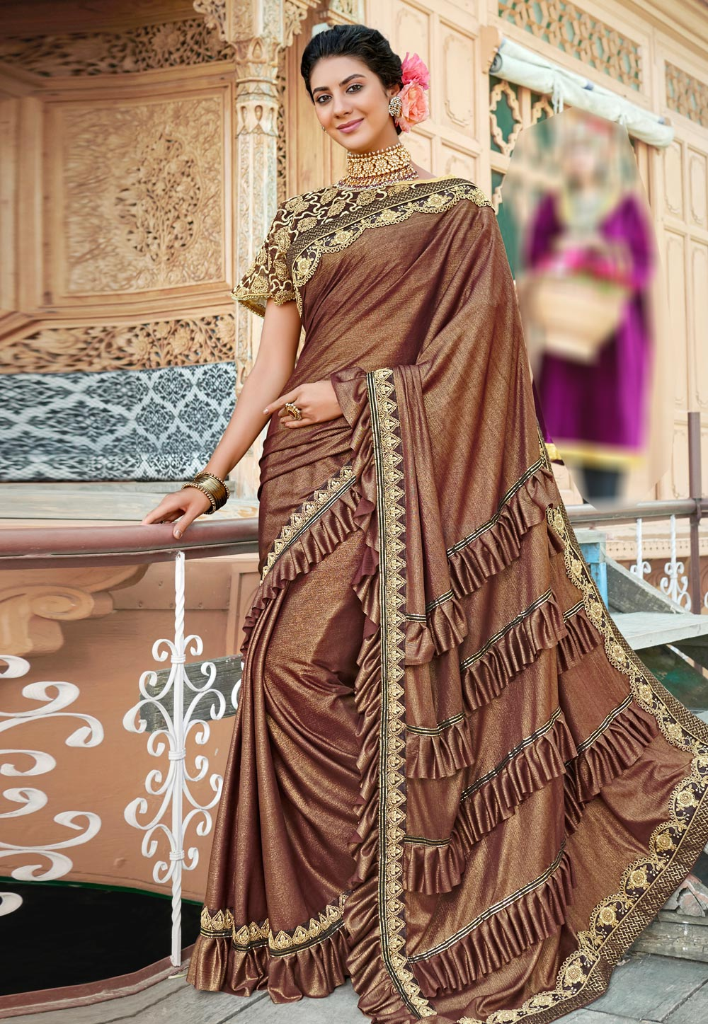 Brown Lycra Saree With Blouse and Cape 193088