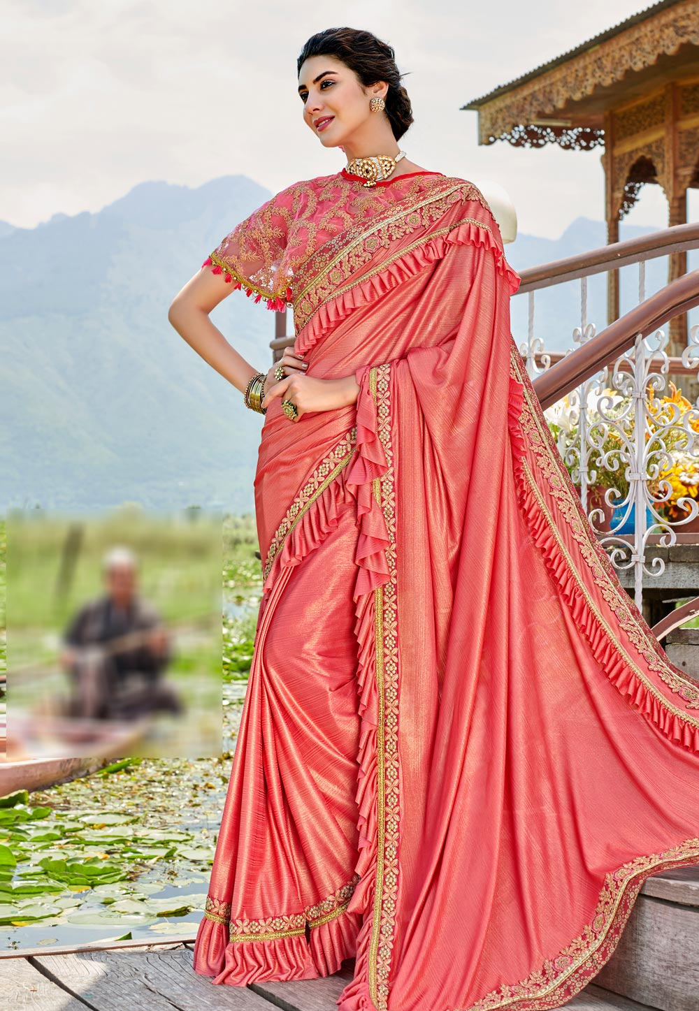 Pink Lycra Festival Wear Saree With Cape 193089