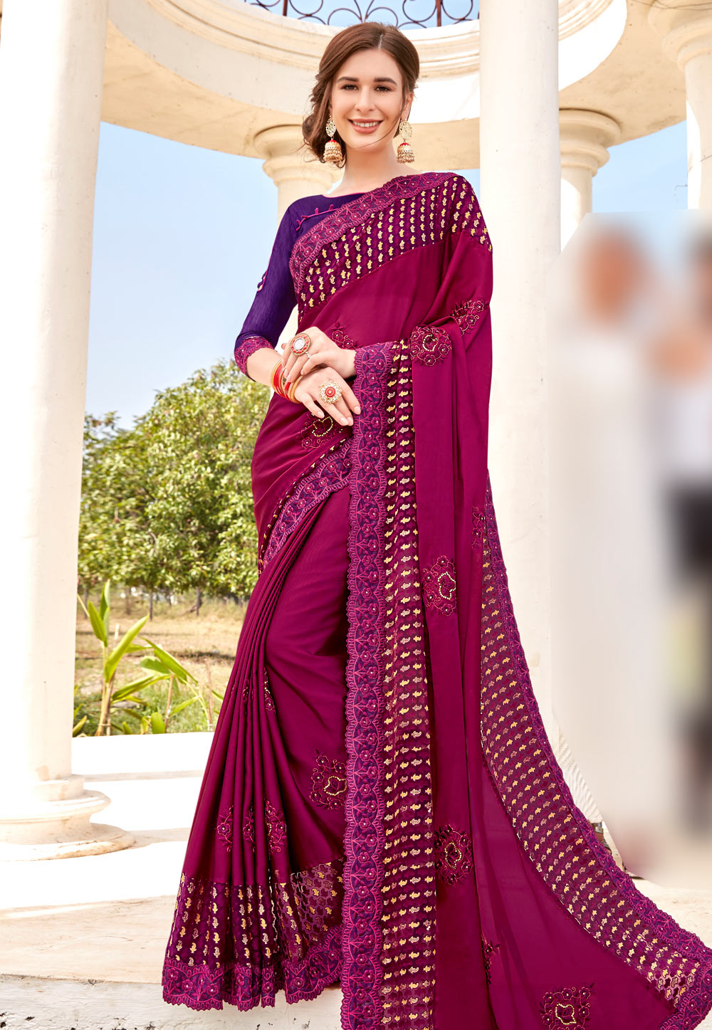 Magenta Georgette Festival Wear Saree 195022