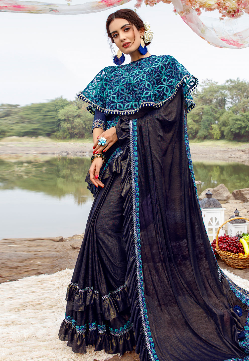 Blue Lycra Festival Wear Saree With Cape and Belt 195034