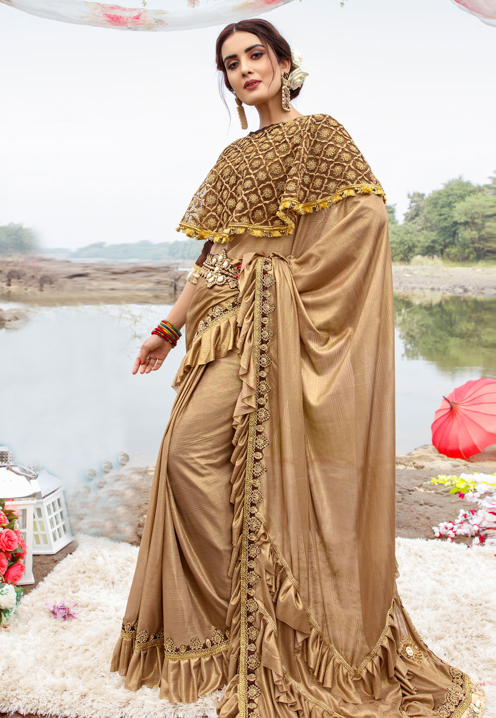 Beige Lycra Festival Wear Saree With Cape and Belt 195036