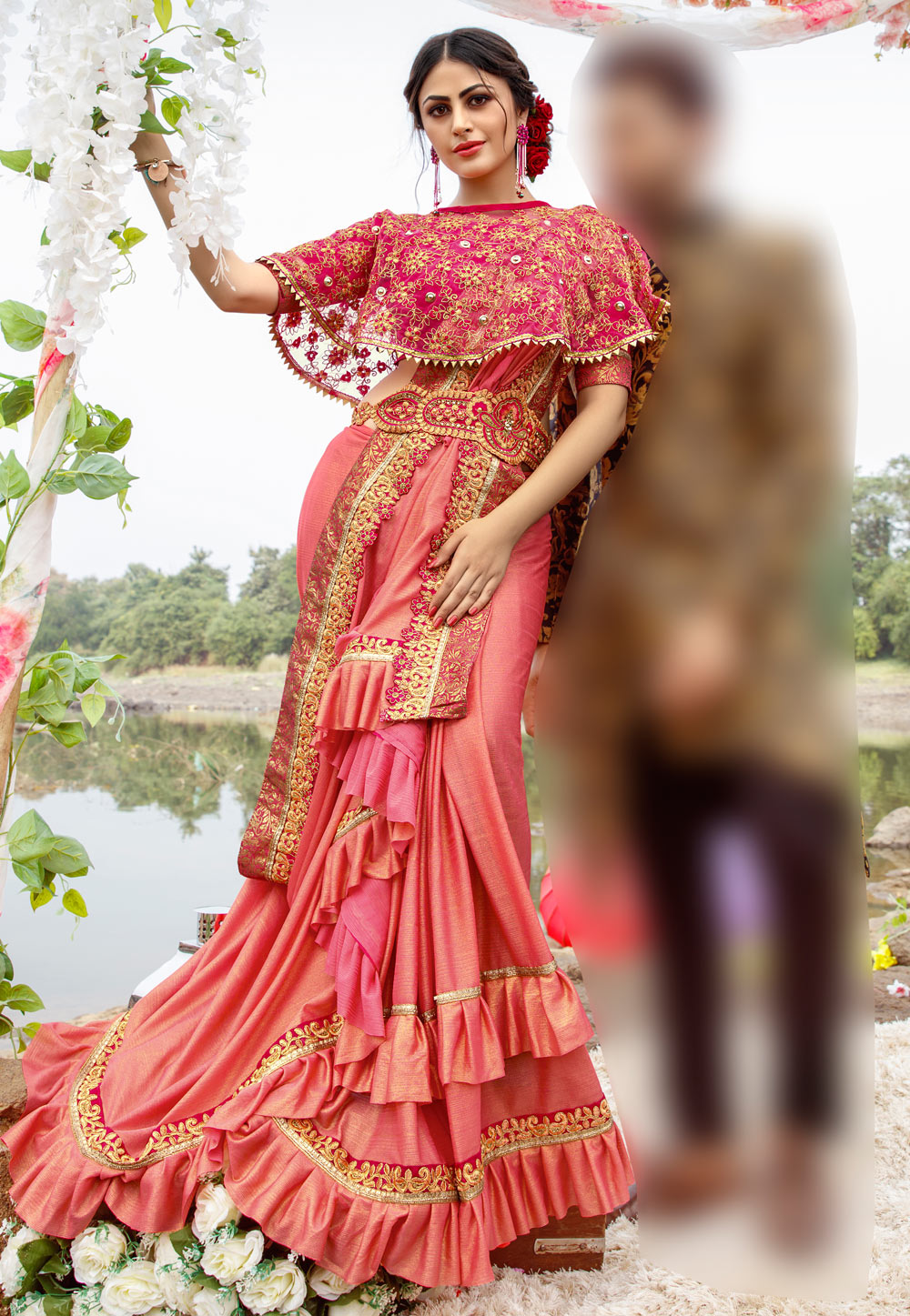 Pink Lycra Festival Wear Saree With Cape And Belt 195037