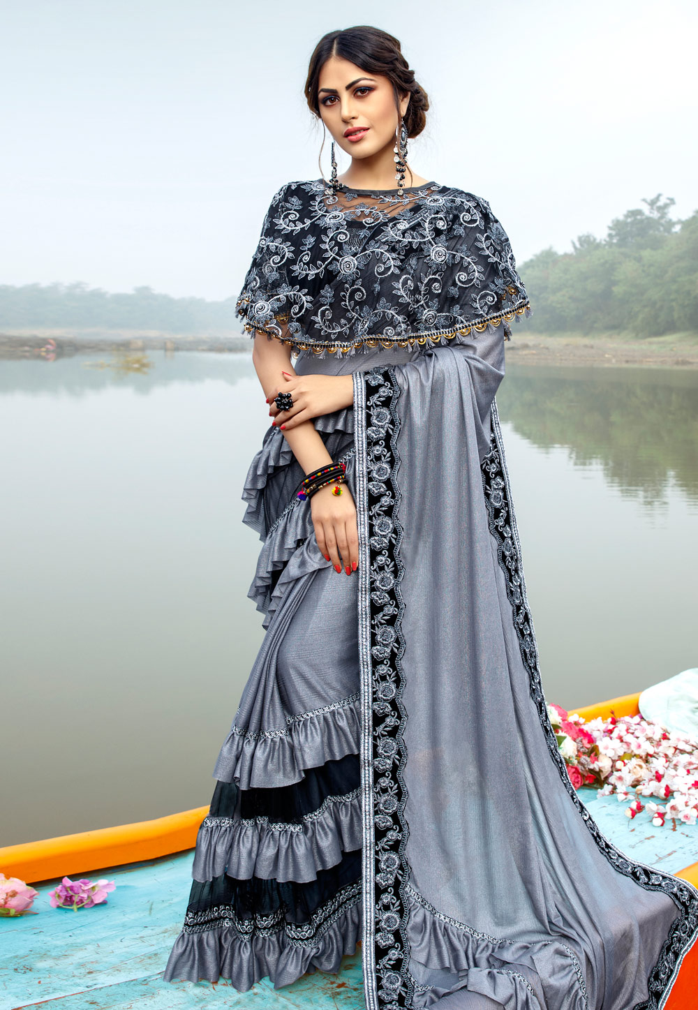Grey Lycra Festival Wear Saree With Cape 195038