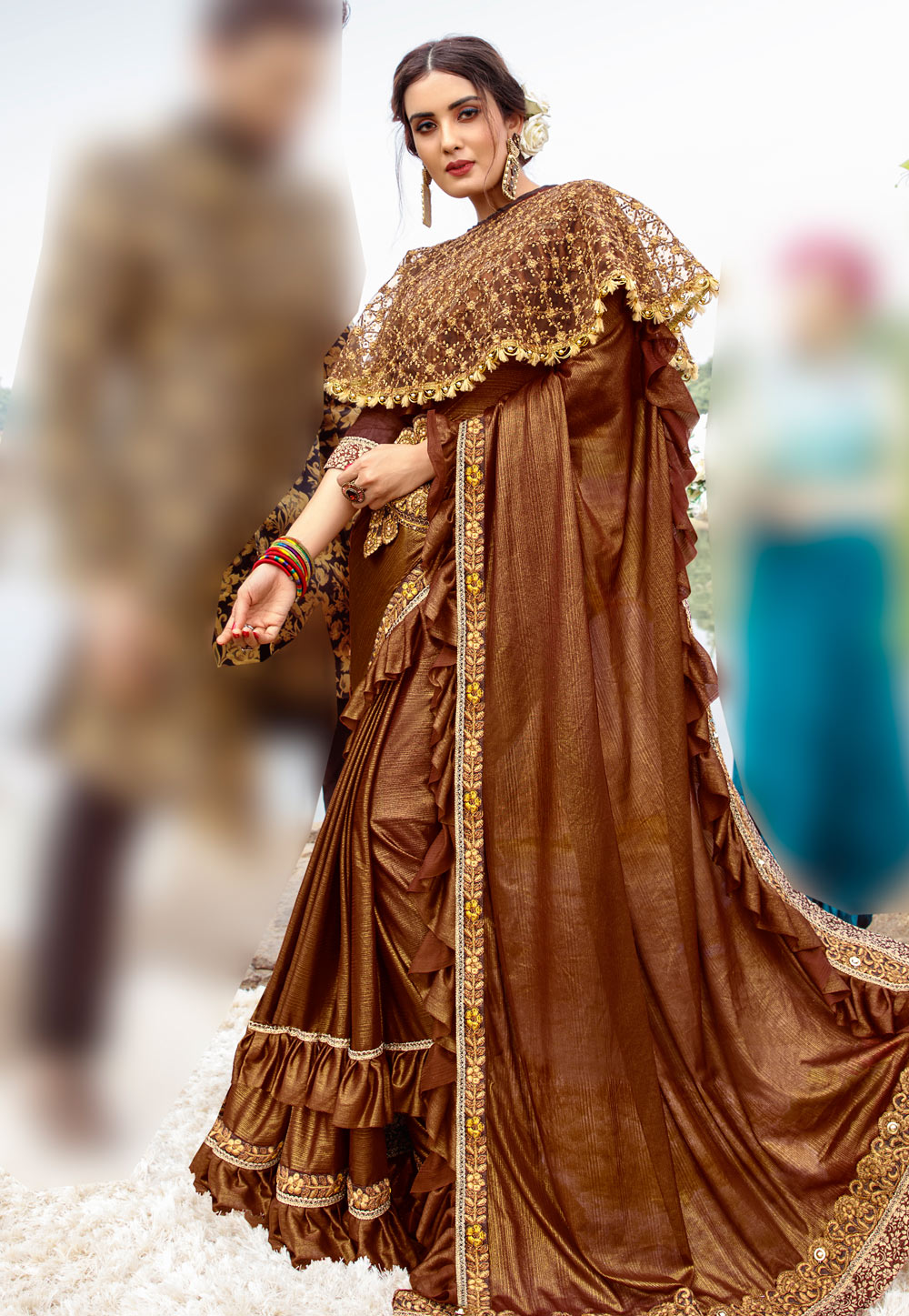 Brown Lycra Festival Wear Saree With Cape and Belt 195039