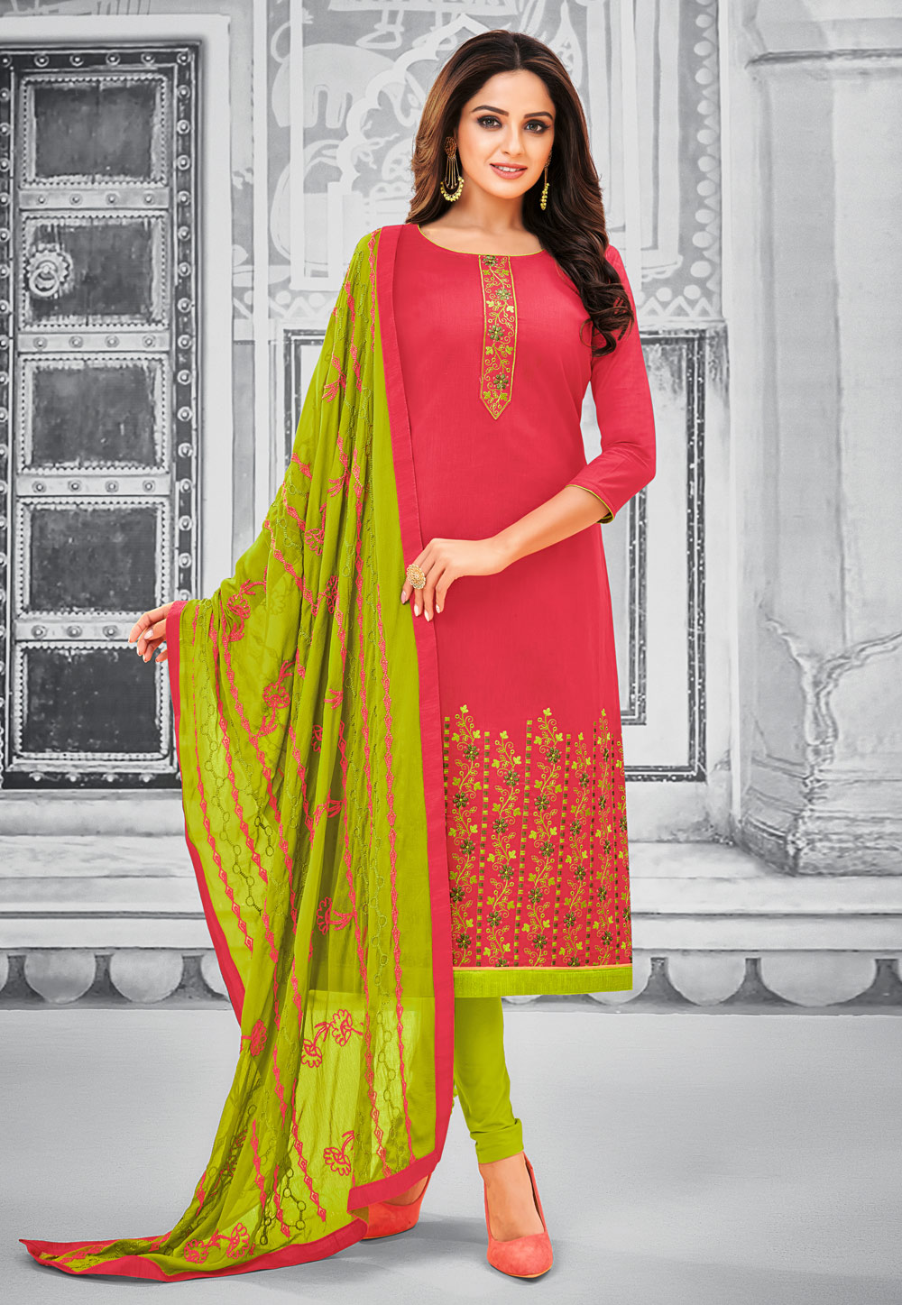Pink Cotton Churidar Salwar Kameez 195500