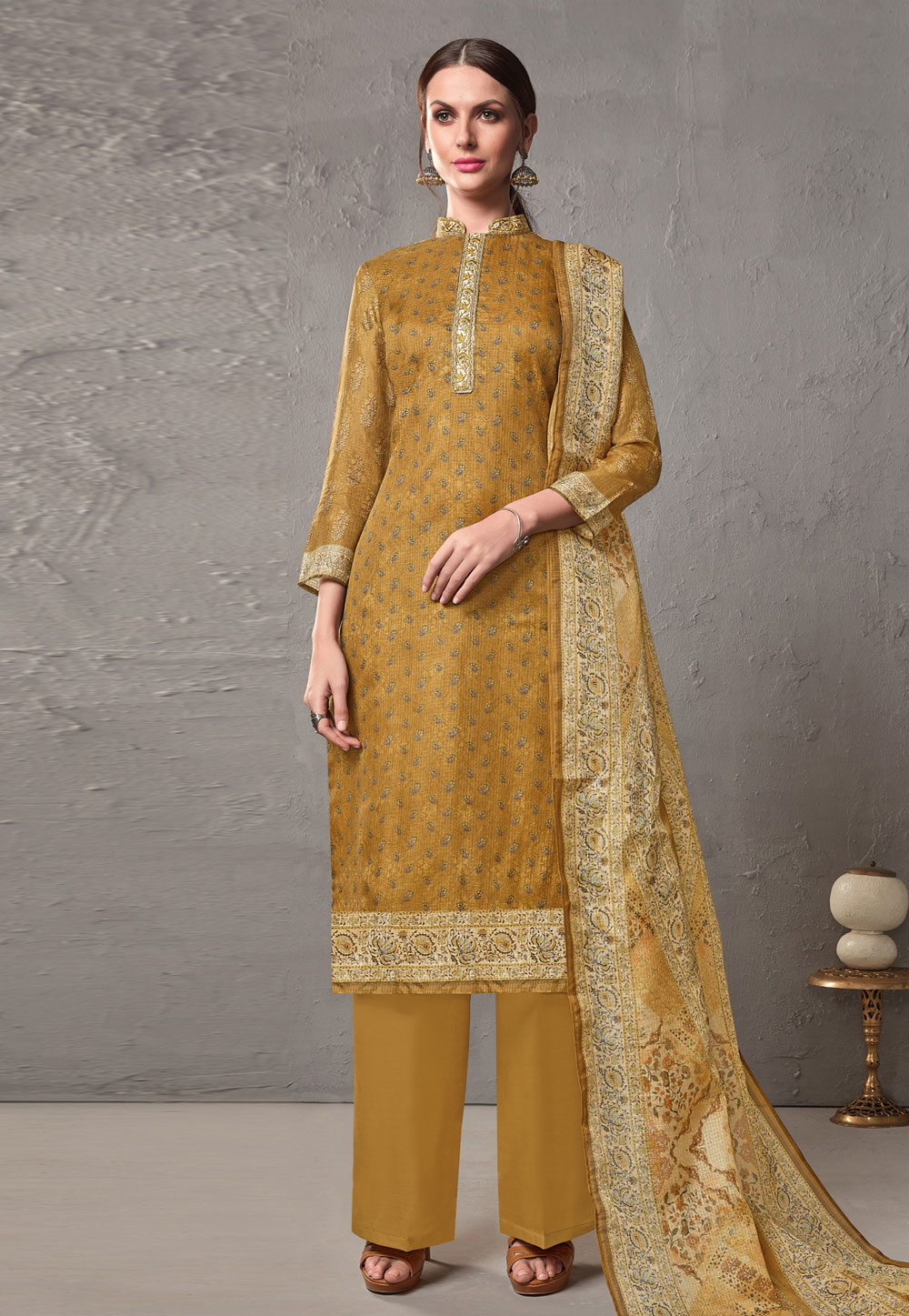 Mustard Cotton Printed Kameez With Palazzo 197073