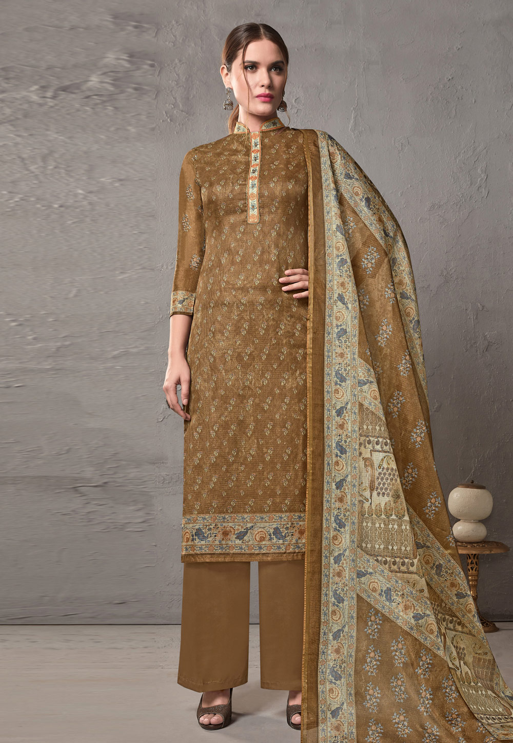 Brown Cotton Printed Palazzo Suit 197076
