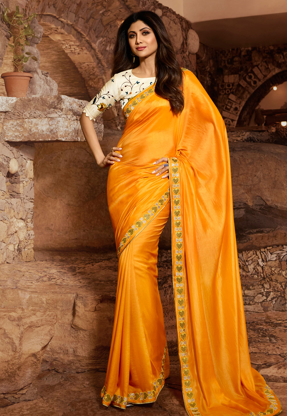Shilpa Shetty Yellow Satin Festival Wear Saree 197597