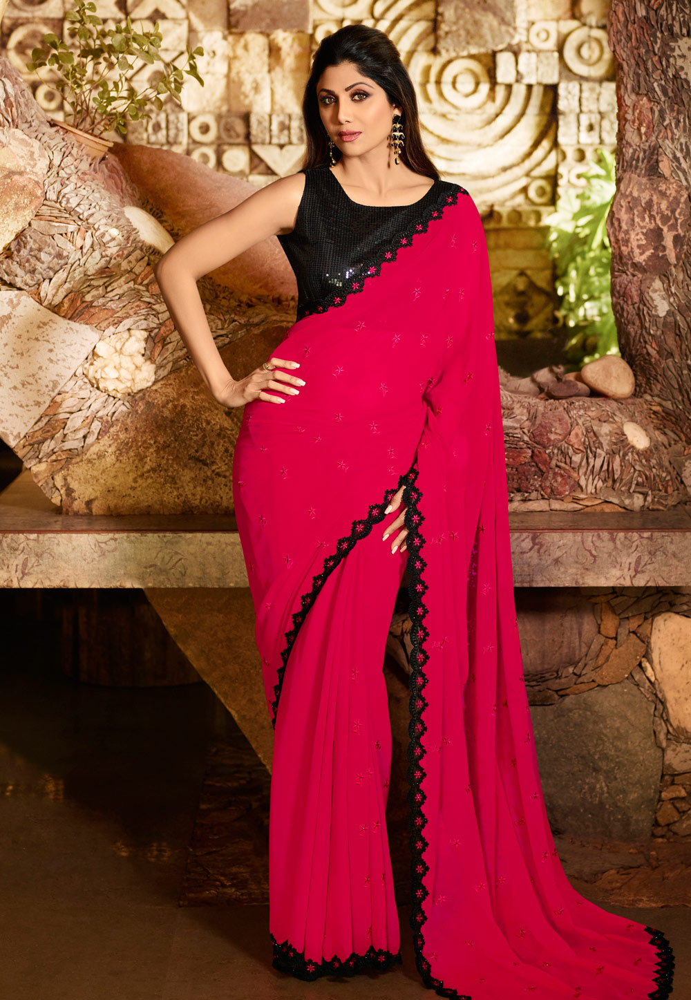 Shilpa Shetty Pink Georgette Saree With Blouse 197600