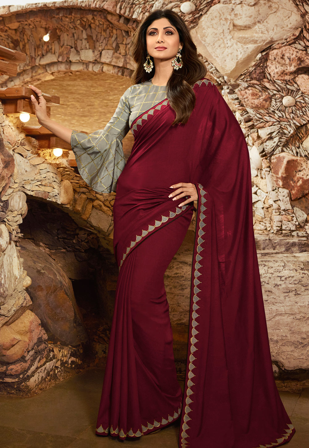Shilpa Shetty Maroon Silk Party Wear Saree With Frill Sleeve 197602