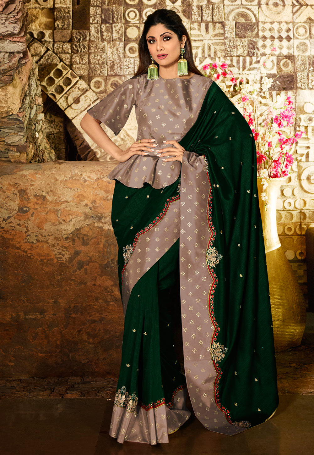 Shilpa Shetty Green Silk Bollywood Wear Saree 197603
