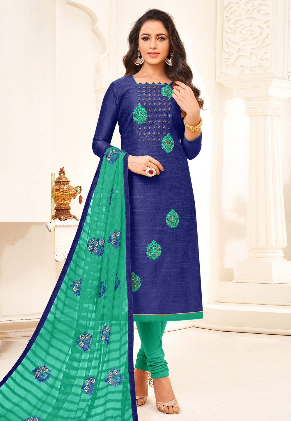 Blue Art Silk Churidar Suit 198366