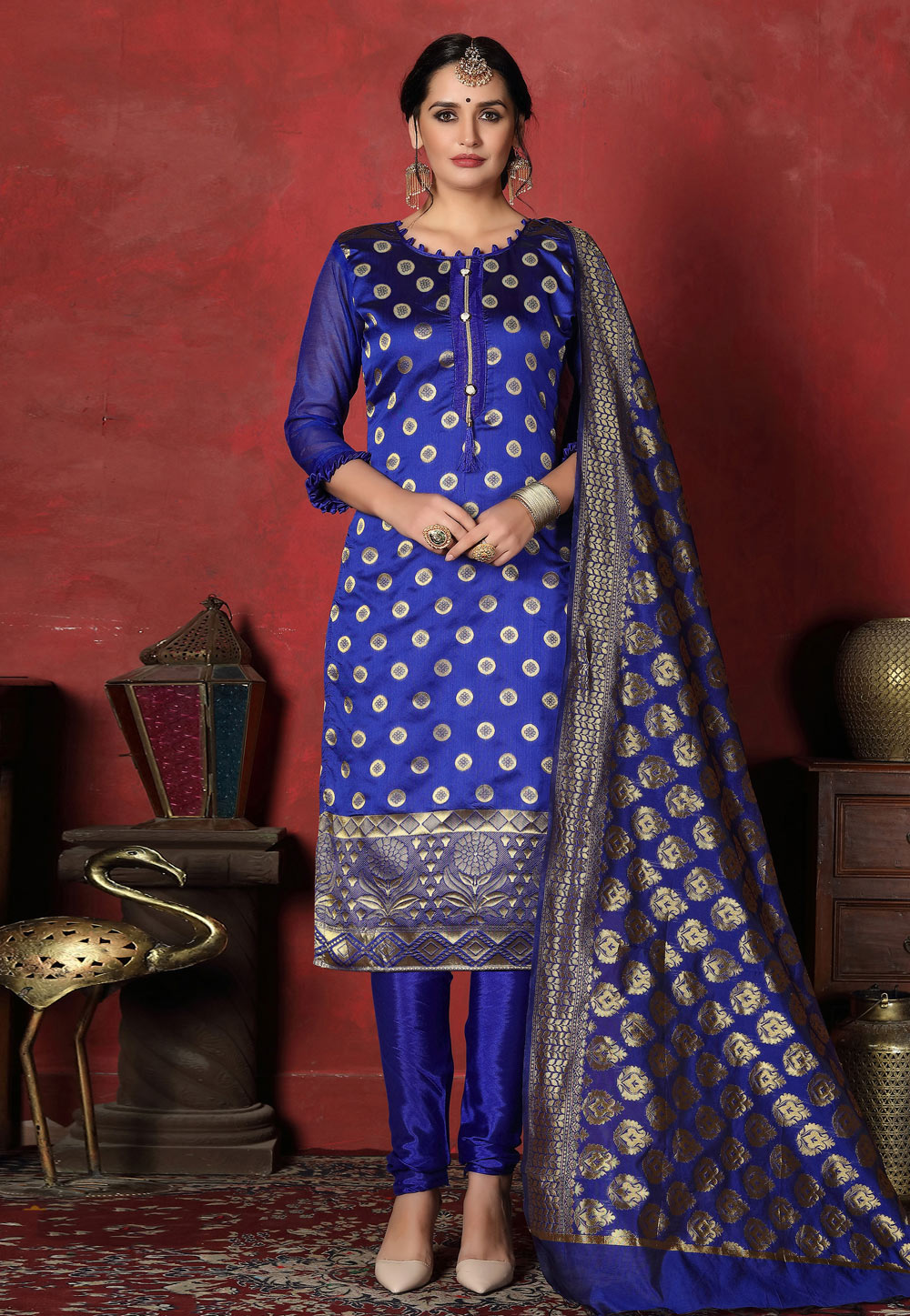 Blue Banarasi Silk Churidar Suit 199876