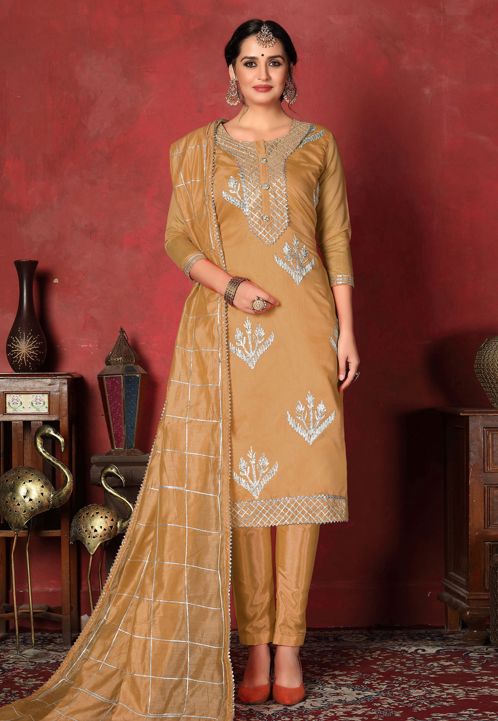 Shaded Yellow Cotton Kameez With Pant 200095