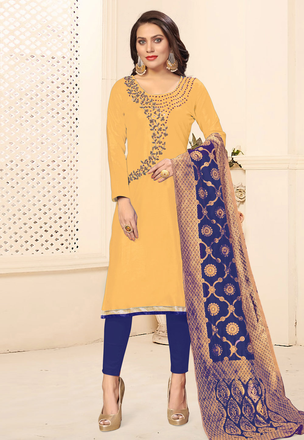 Yellow Cotton Pant Style Suit 201858