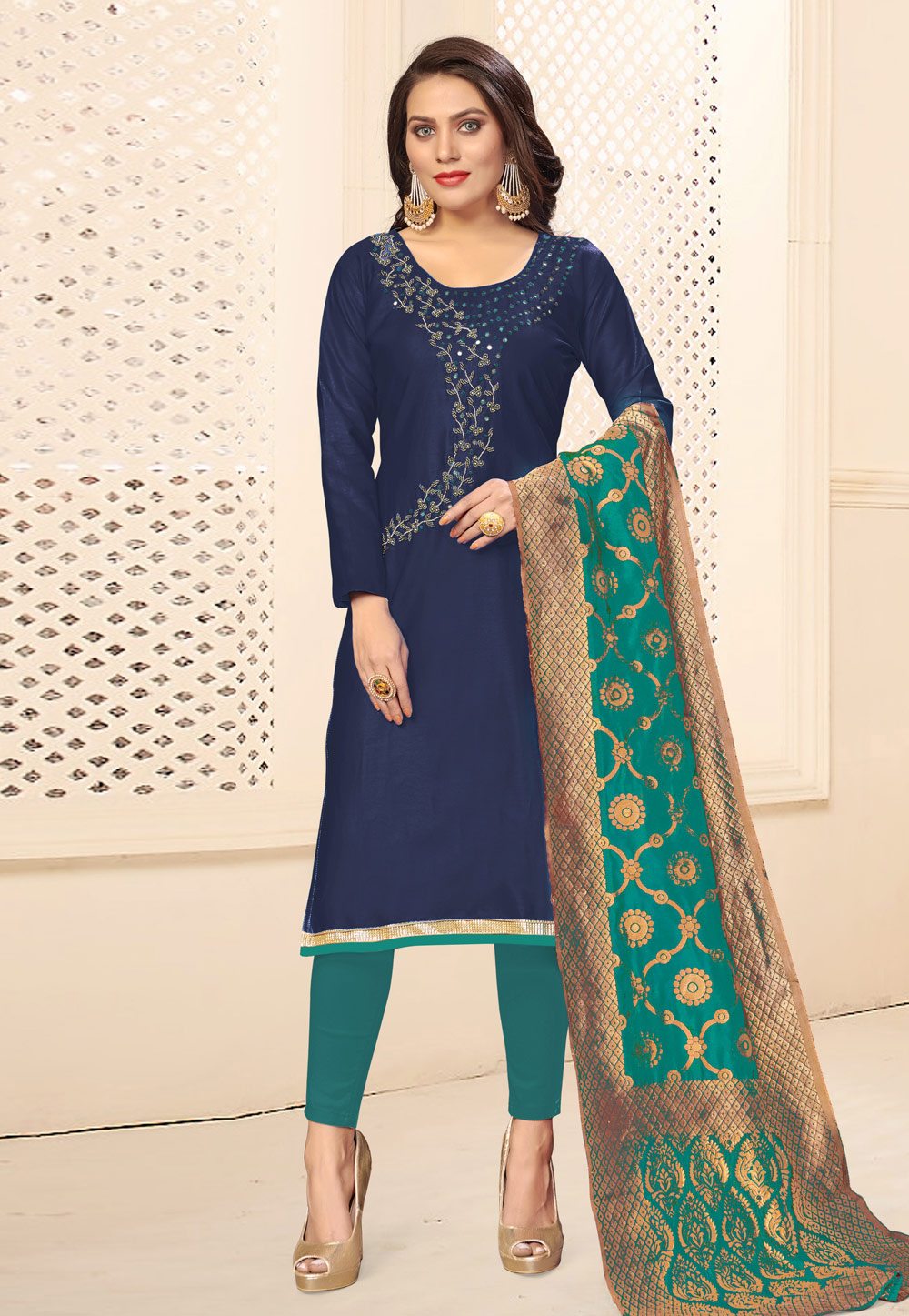 Navy Blue Cotton Kameez With Pant 201859