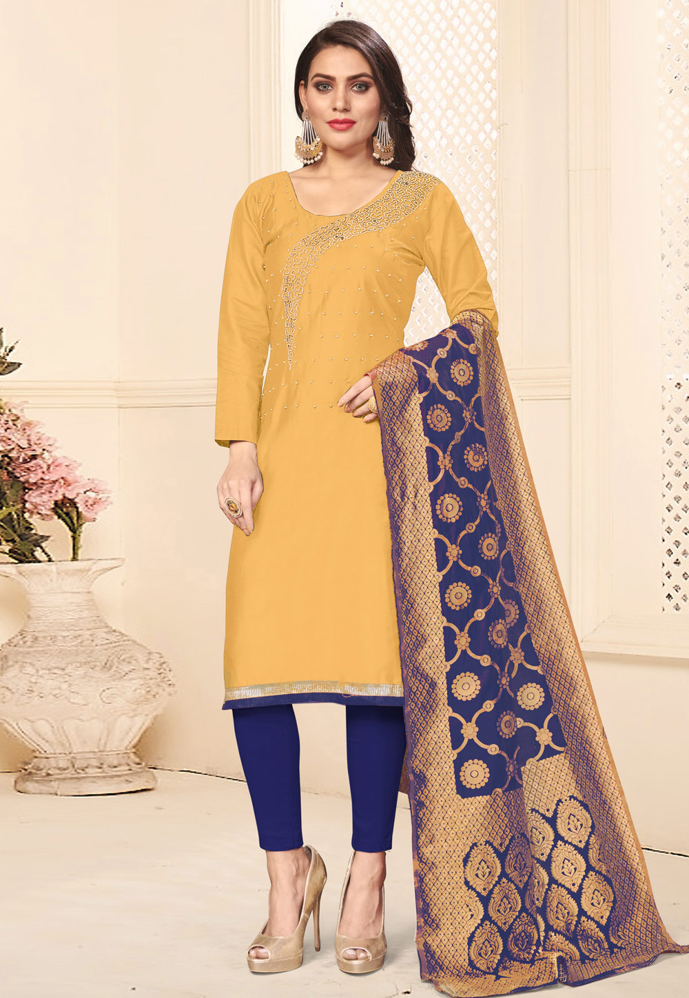 Yellow Cotton Kameez With Pant 201860
