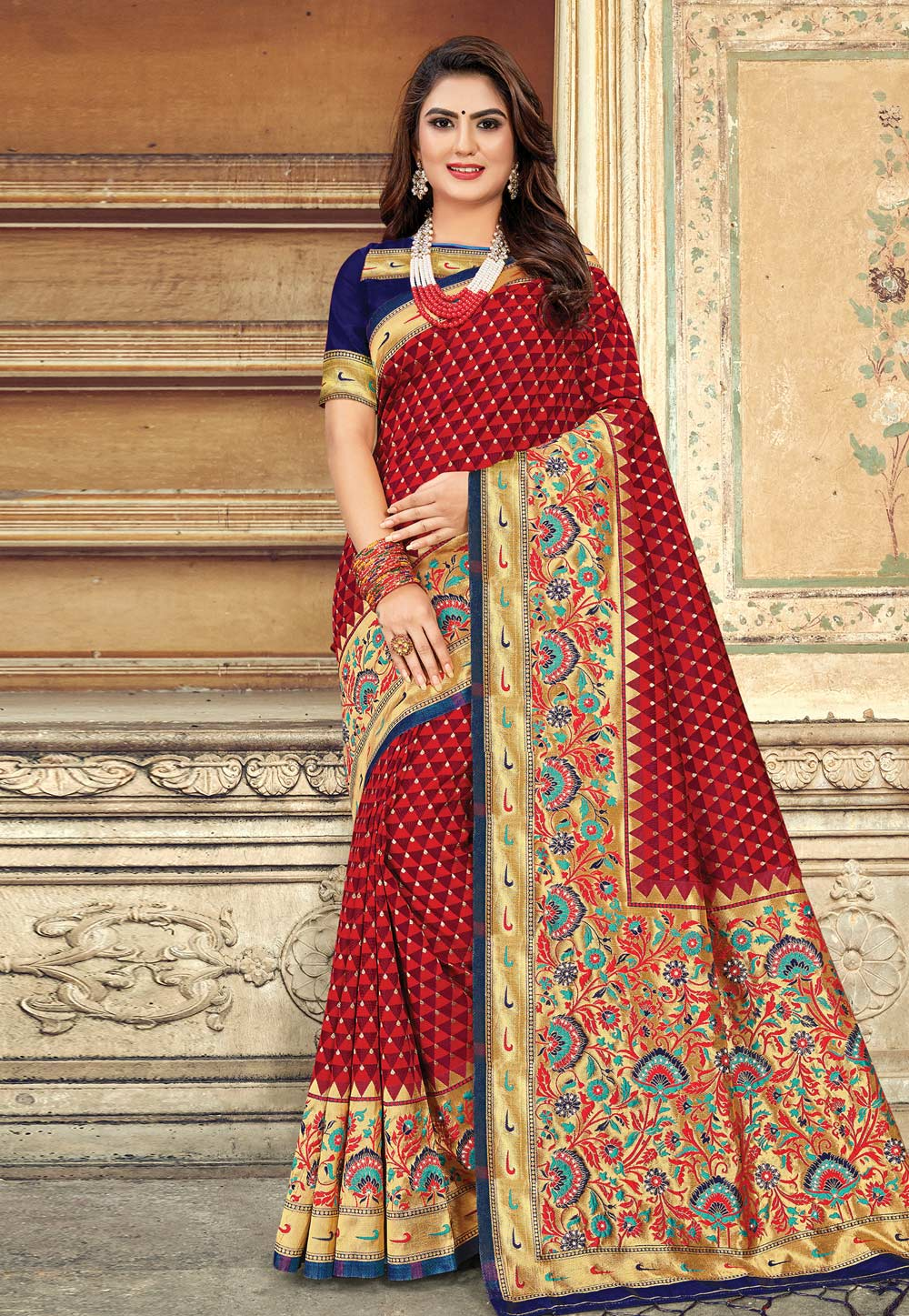 Red Art Silk Saree With Blouse 202390