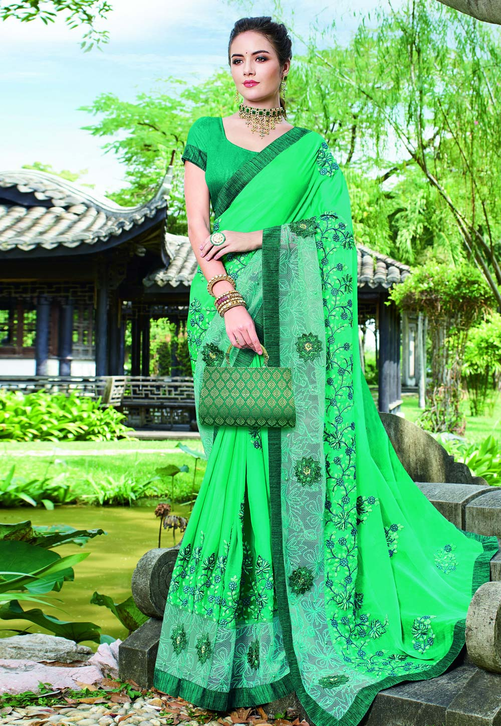 Green Chinon Saree With Blouse 203613