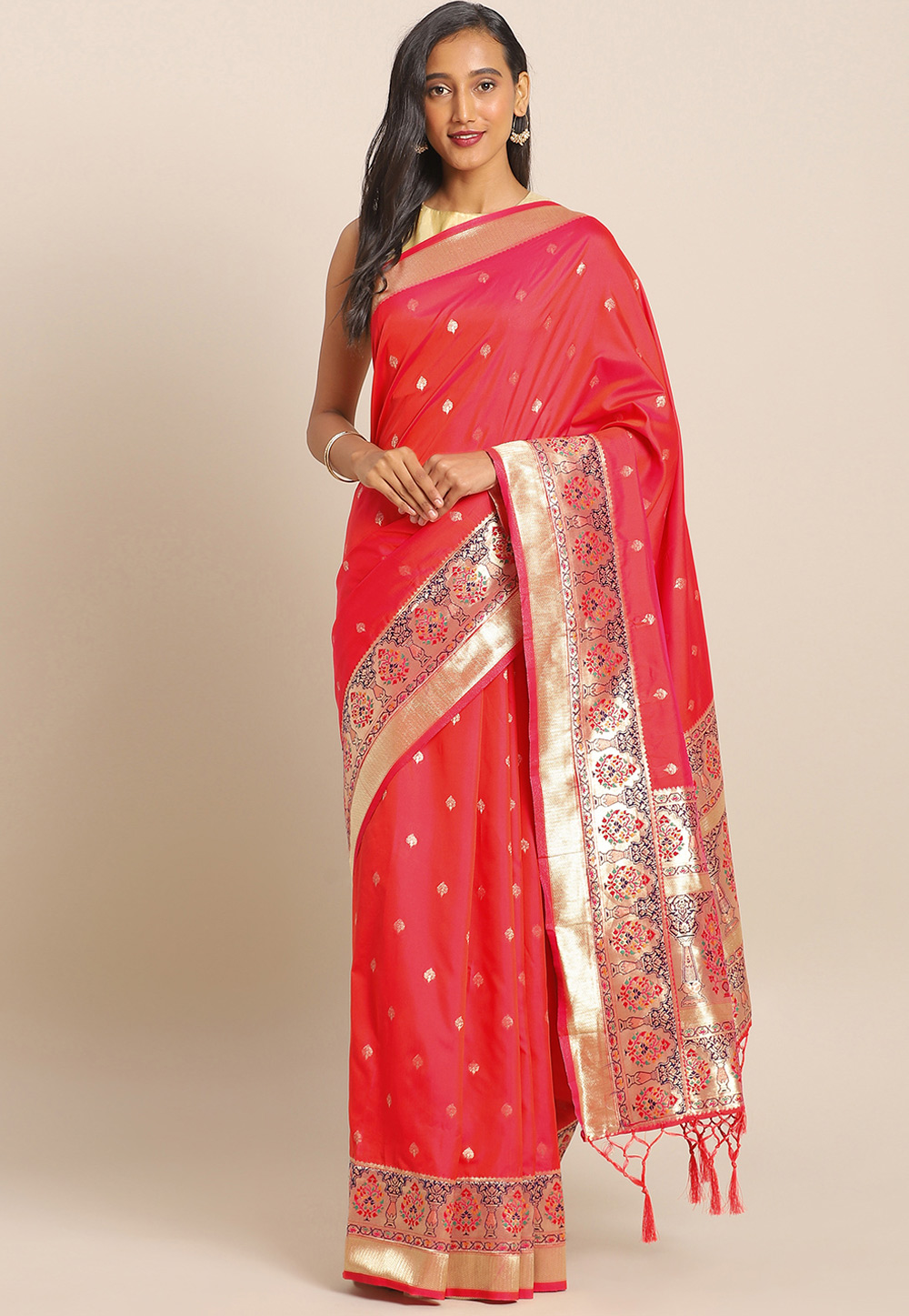 Pink Banarasi Silk Saree With Blouse 206533