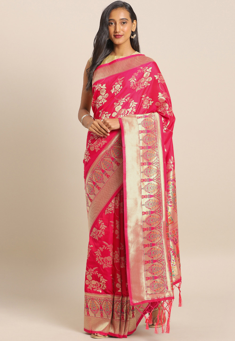 Pink Banarasi Silk Festival Wear Saree 206548