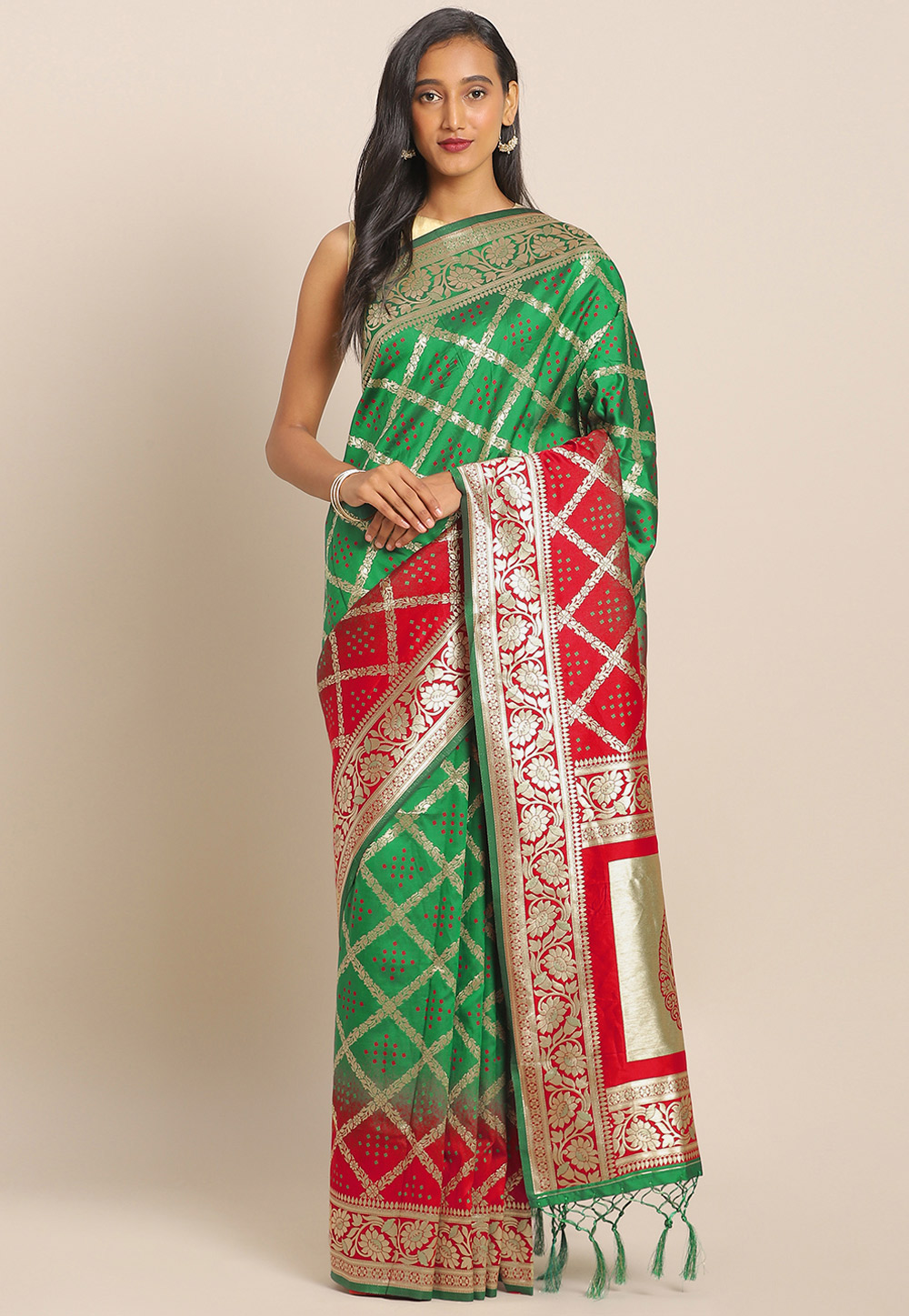 Green Banarasi Silk Saree With Blouse 206549