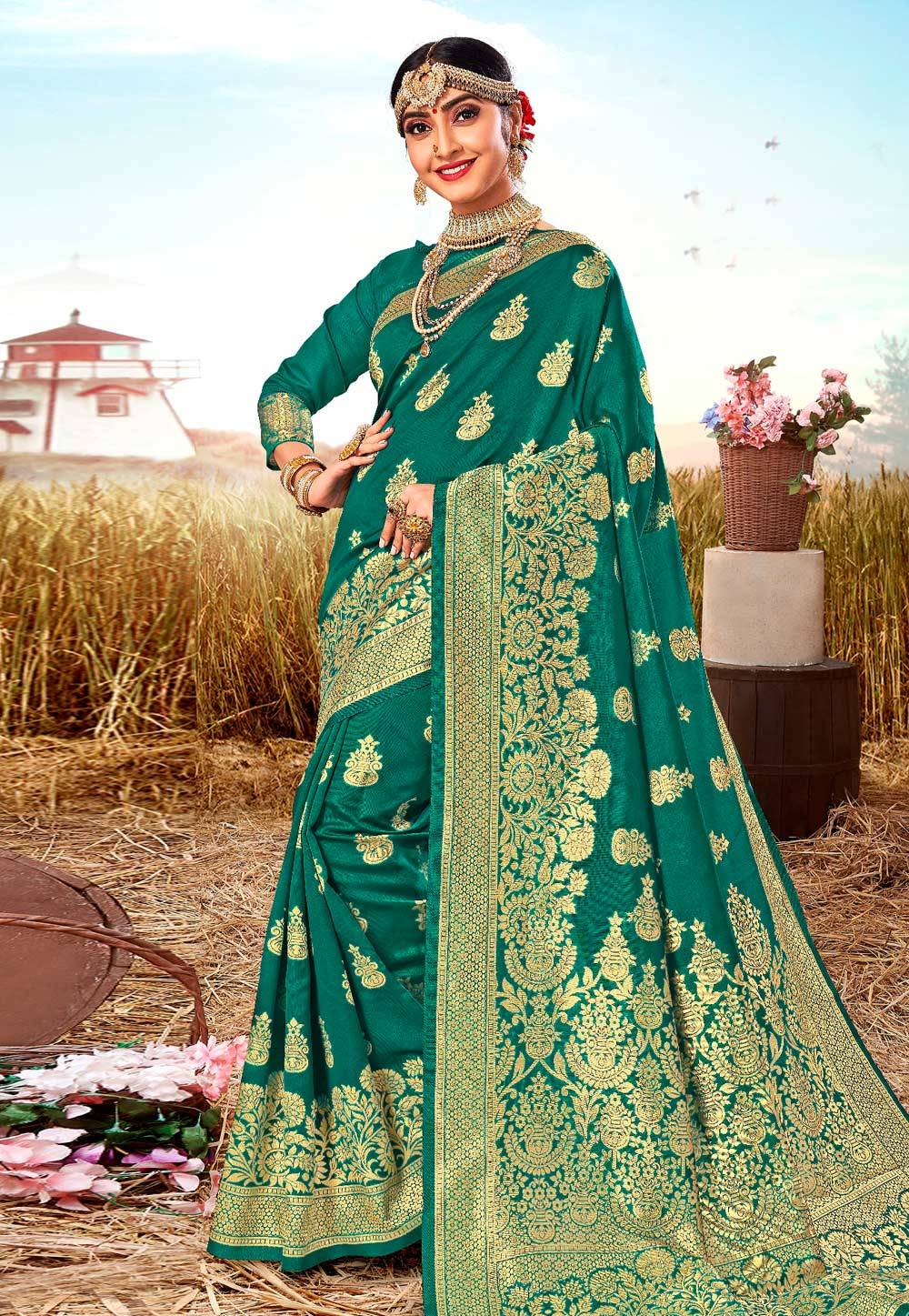 Teal Silk Festival Wear Saree 206558