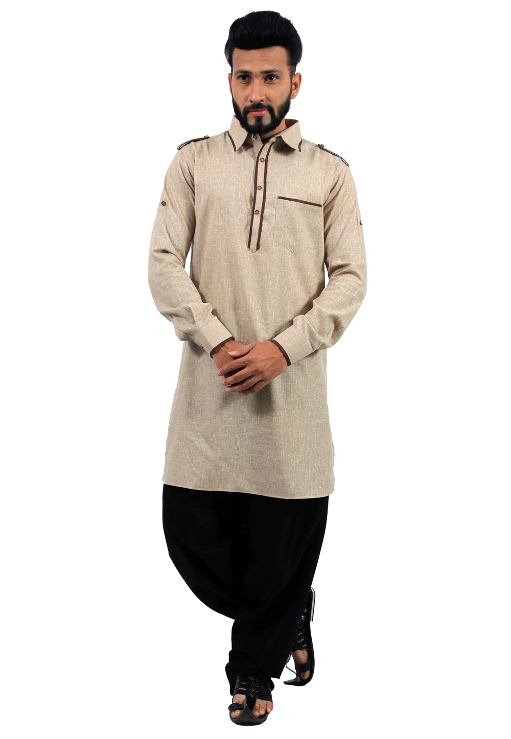 Beige Cotton Readymade Pathani Suit 166346