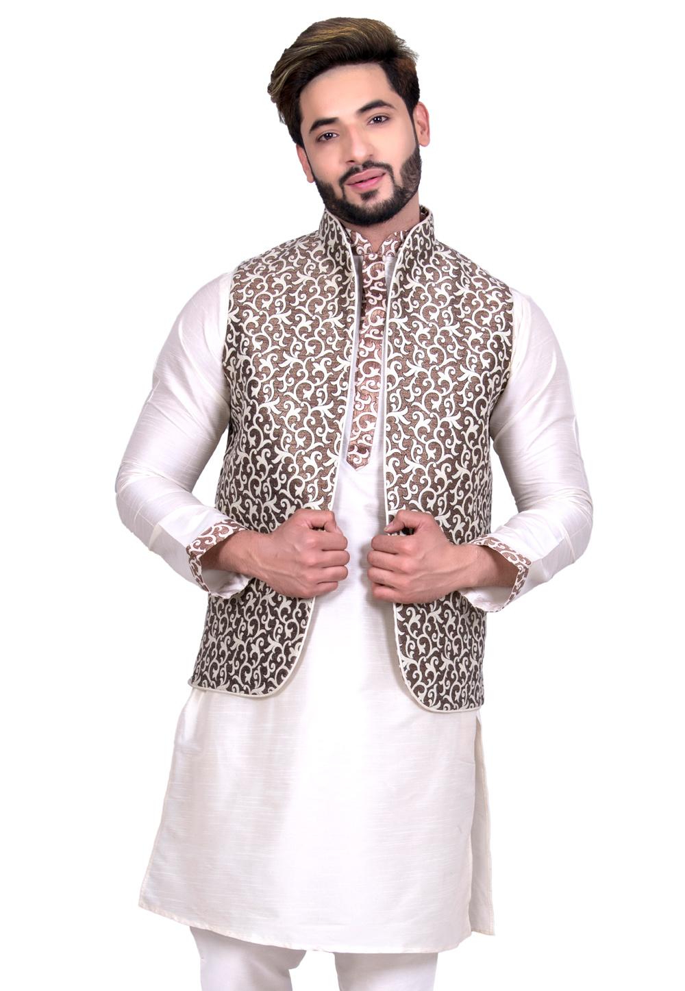Brown Brocade Silk Readymade Nehru Jacket 203556