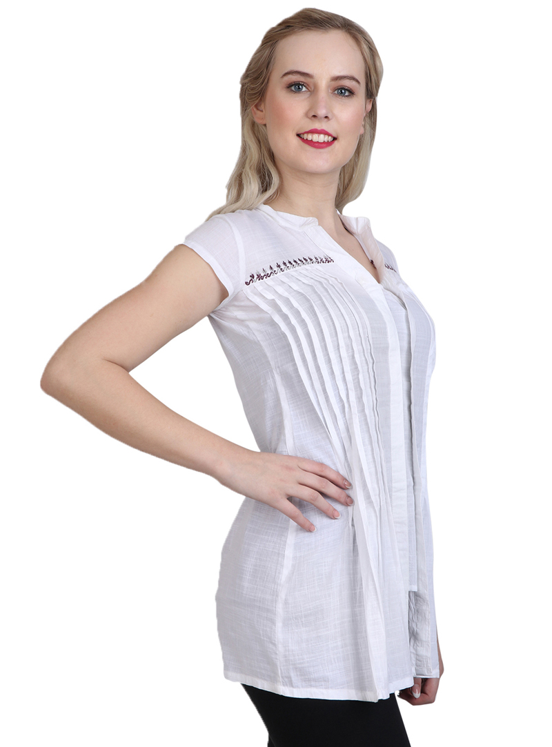 White Cotton Readymade Top 114616