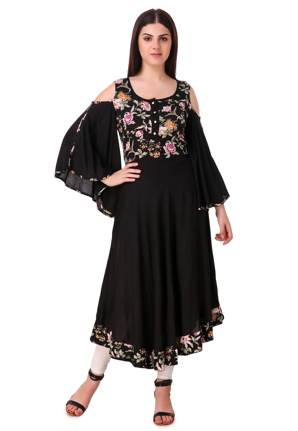 Black Rayon Readymade Printed Tunic 168815