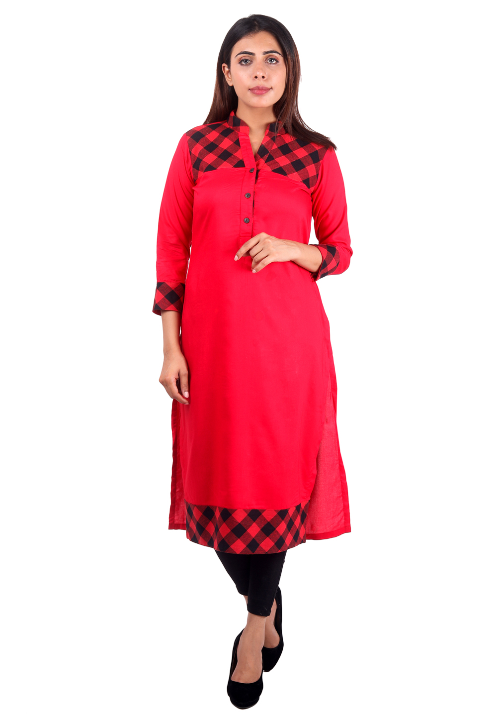 Red Cotton Readymade Printed Tunic 168827