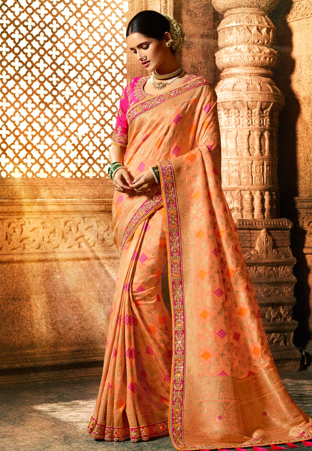 Peach Viscose Embroidered Festival Wear Saree 185303