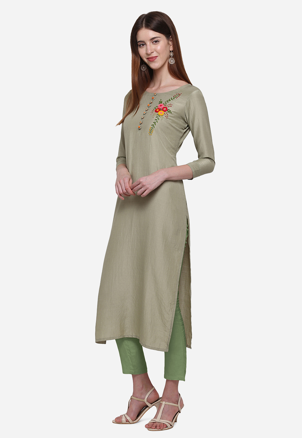 Grey Muslin Readymade Tunic 213287