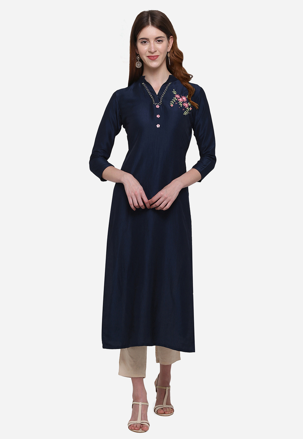 Navy Blue Muslin Readymade Tunic 213291