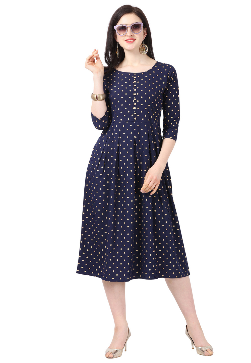 Navy Blue Crepe Readymade Tunic 212471