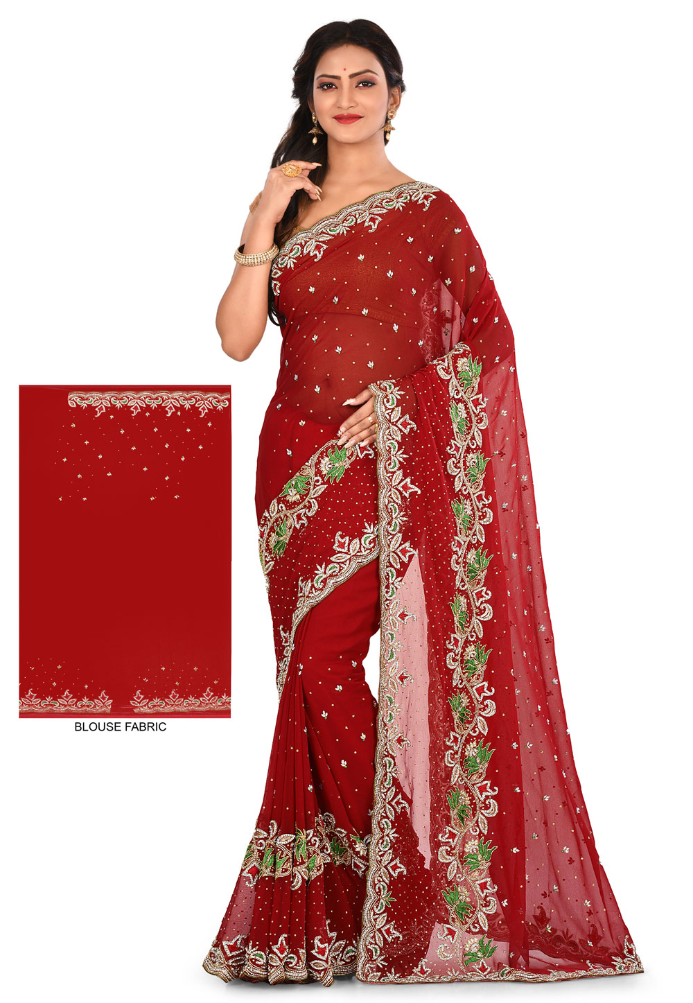 Maroon Georgette Hand Work Saree With Blouse 180177